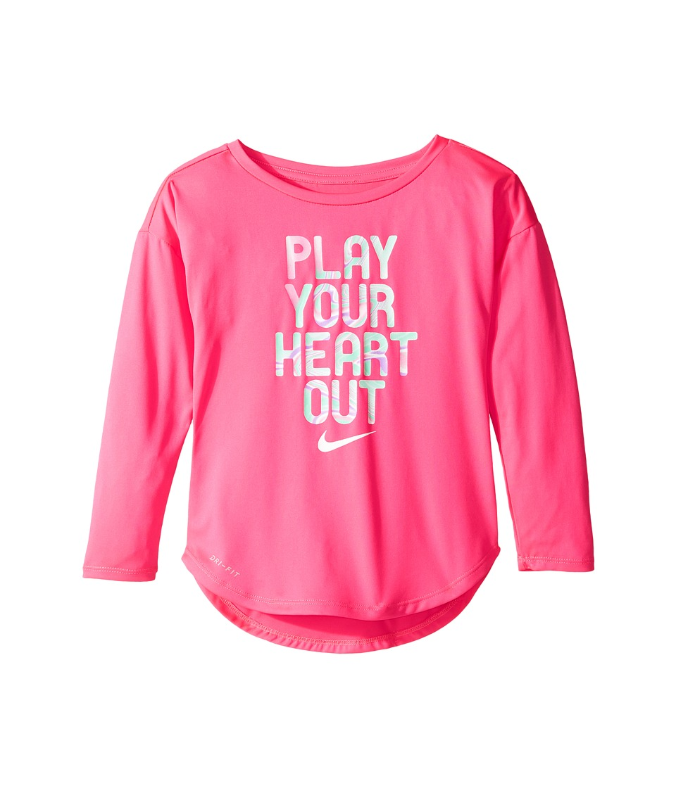 Nike Kids - Play Your Heart Out Long Sleeve Tee (Toddler) (Hyper Pink) Girl's T Shirt
