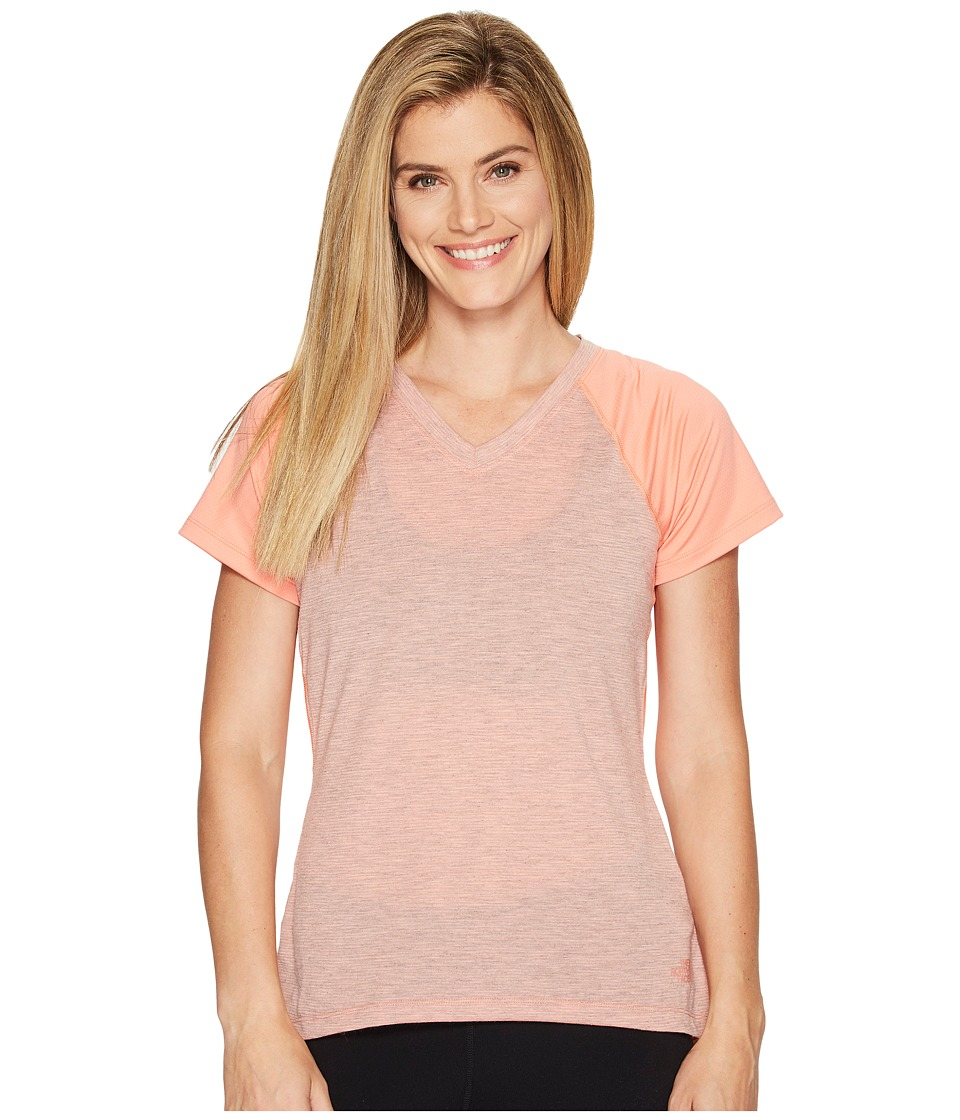 The North Face Reactor V-Neck Short Sleeve Shirt (Burnt Coral (Prior Season)) Women