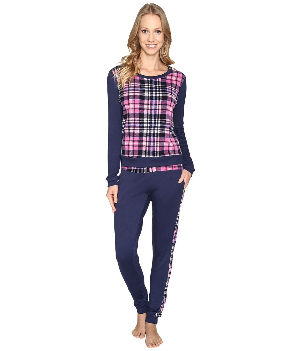 Jane & Bleecker - Packaged Lounge Set - Microfleece/French Terry 3591265F (Ski Navy with Plaid) Women's Pajama Sets