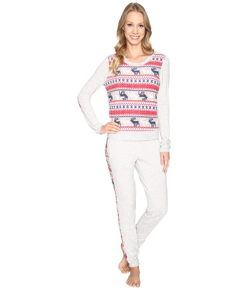Jane & Bleecker - Packaged Lounge Set - Microfleece/French Terry 3591265F (Light Heather Grey with Reindeer) Women's Pajama Sets