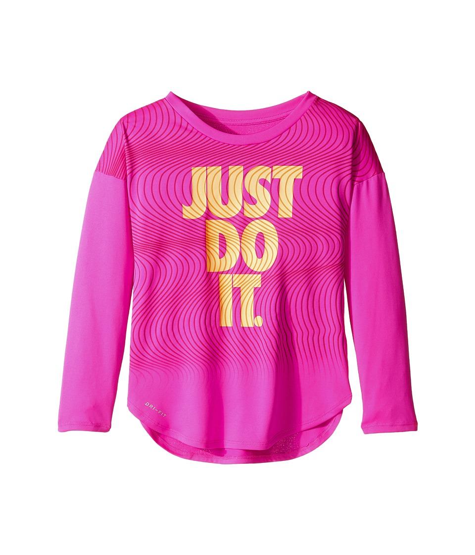 Nike Kids - Just Do It Wave Dri-FIT Modern Tee (Little Kids) (Fire Pink) Girl's T Shirt