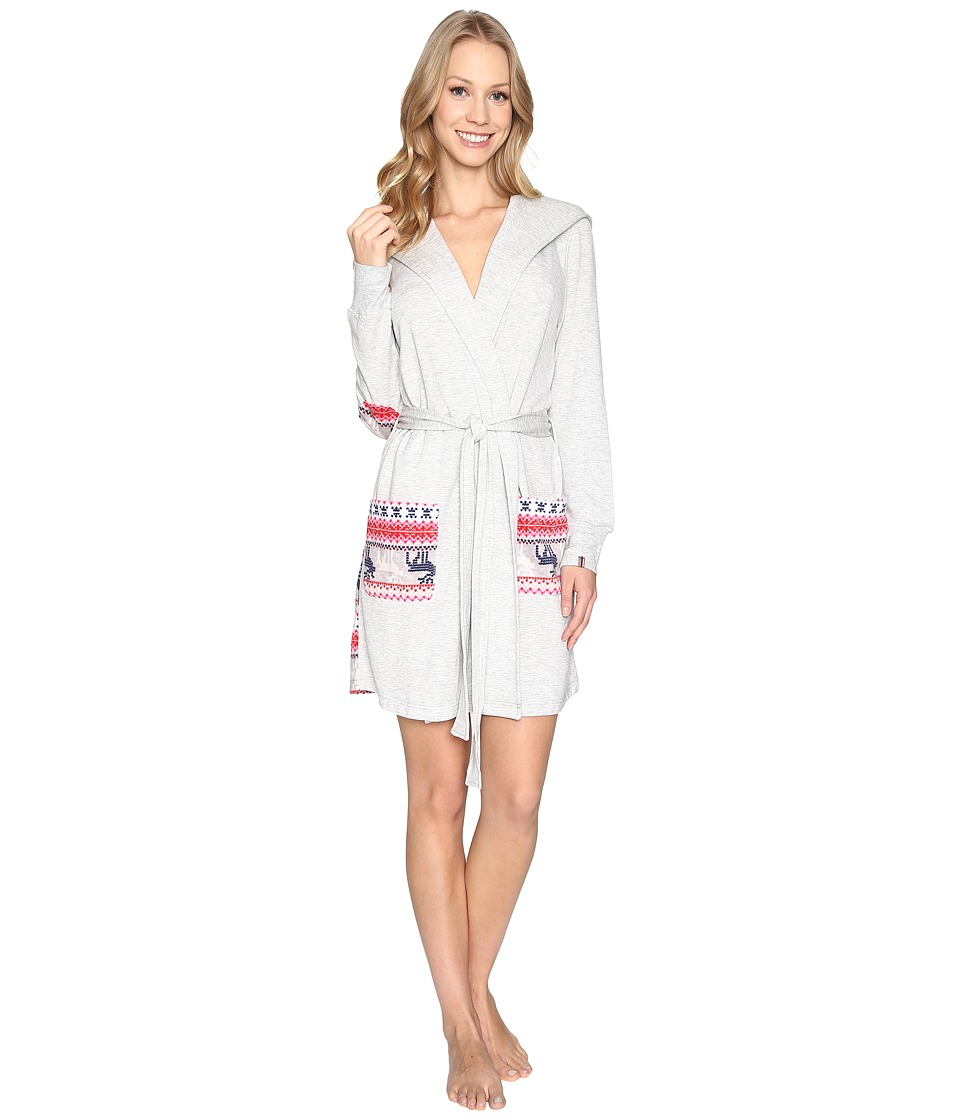 Jane & Bleecker - Hooded Robe - Microfleece/French Terry 3541265 (Light Heather Grey with Reindeer) Women's Robe