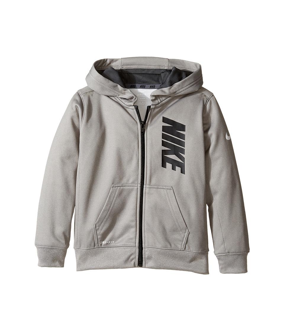 Nike Kids - Therma Full Zip Hoodie (Toddler) (Dark Grey Heather) Boy's Sweatshirt
