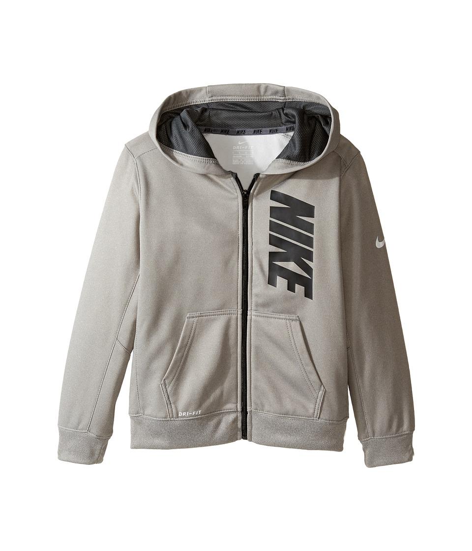 Nike Kids - Therma Full Zip Hoodie (Little Kids) (Dark Grey Heather) Boy's Sweatshirt