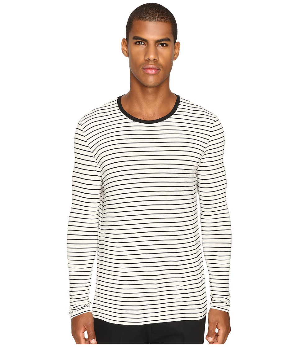 ATM Anthony Thomas Melillo - Long Sleeve Striped Viscose Tee (Marble/Black) Men's T Shirt