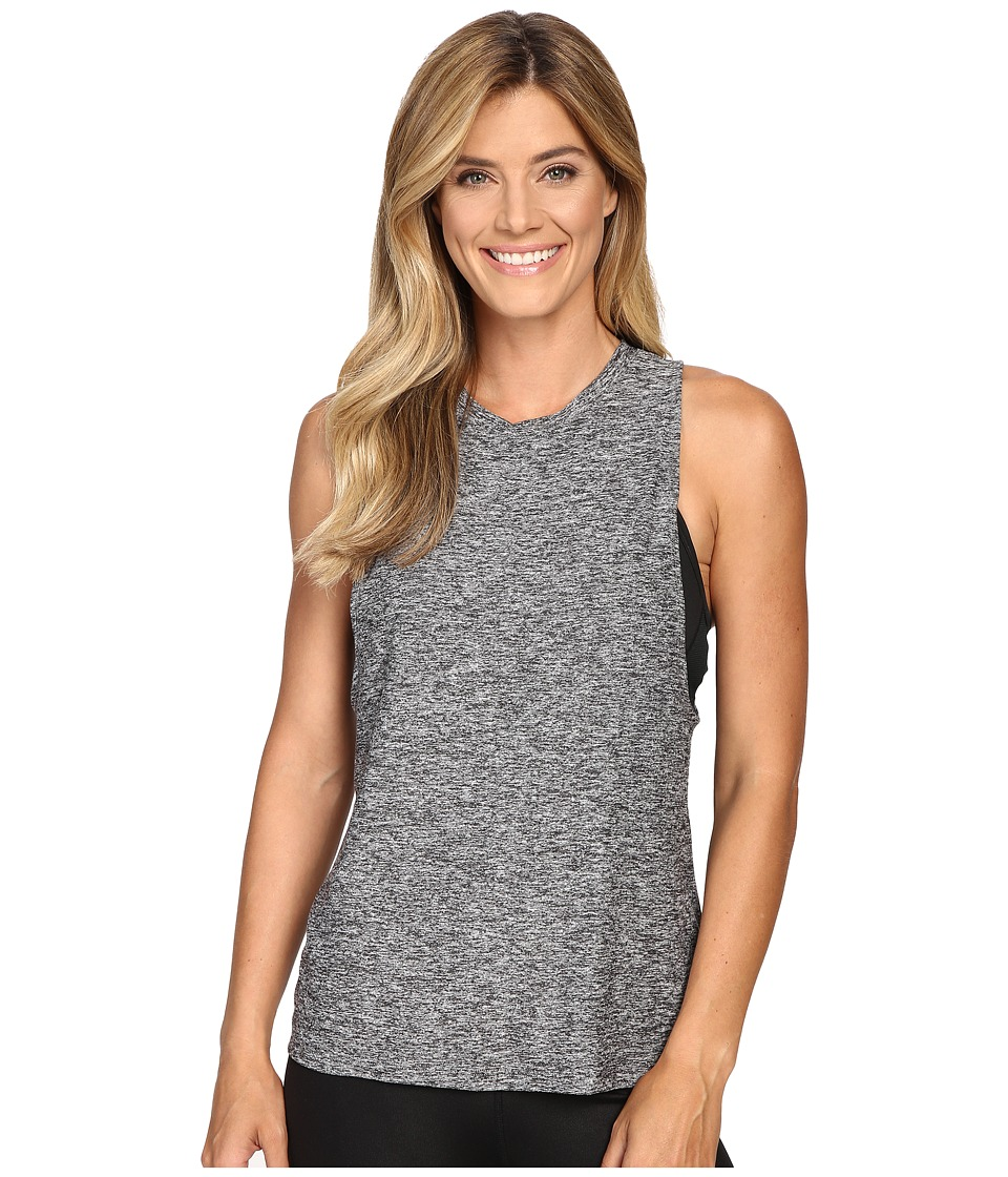 Beyond Yoga - Twisted Open Back Tank Top (Black/White) Women's Sleeveless