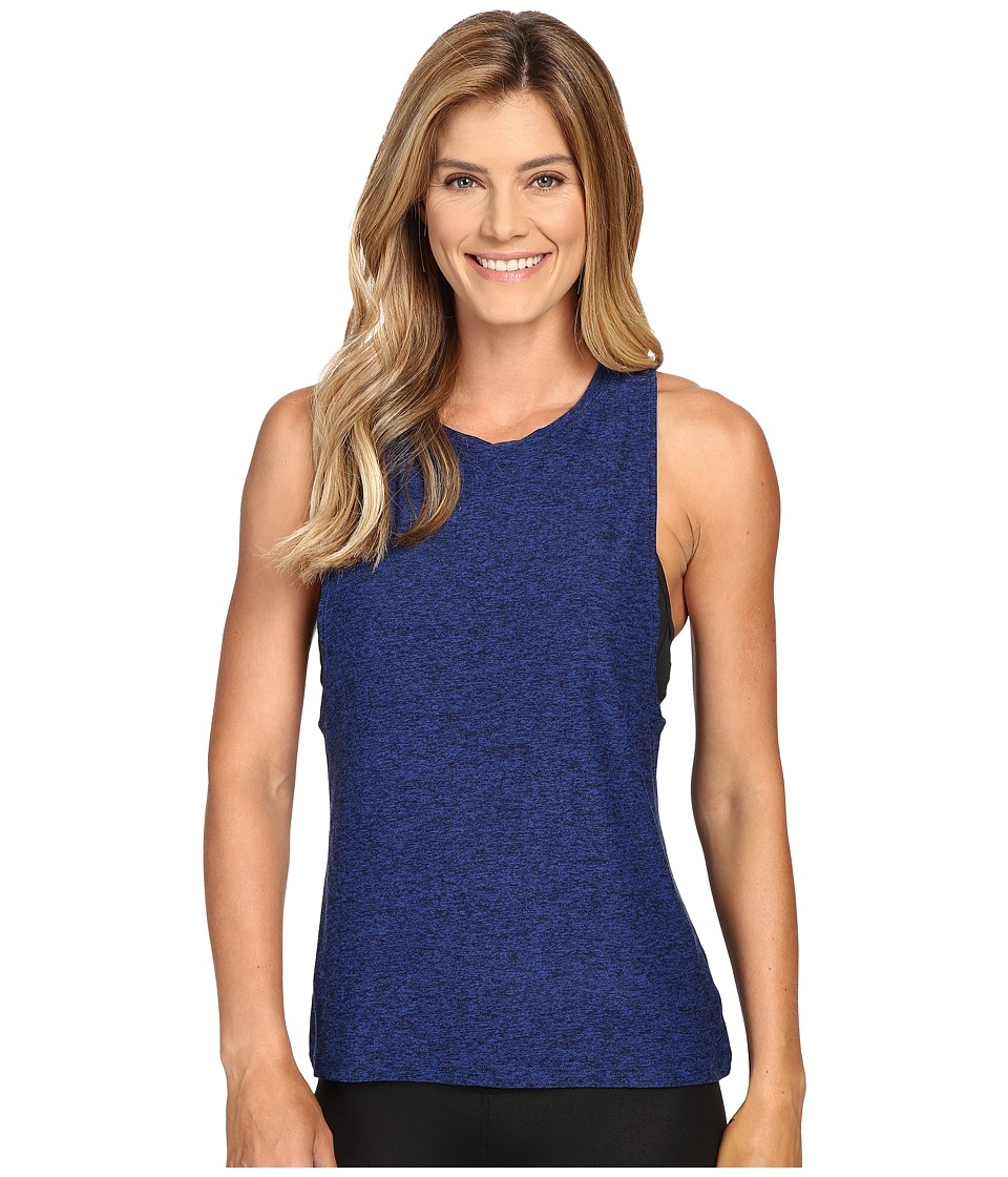 Beyond Yoga - Twisted Open Back Tank Top (Black/Cobalt) Women's Sleeveless