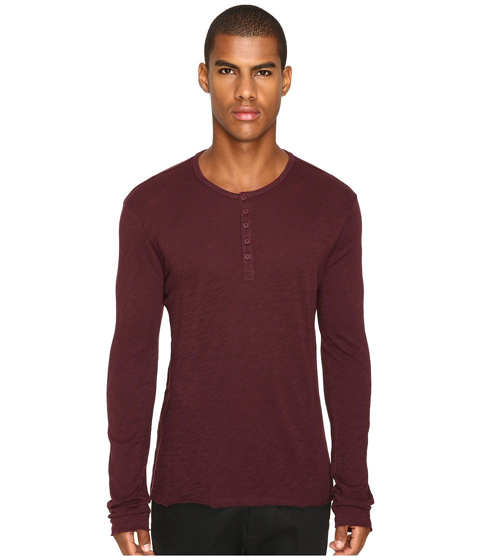 ATM Anthony Thomas Melillo - Destroy Wash Henley (Malbec) Men's Clothing