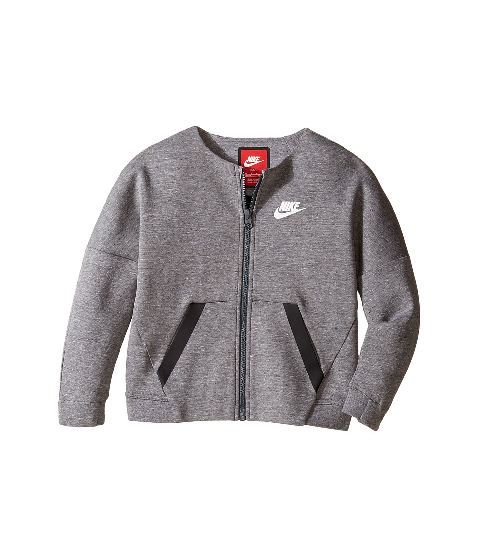 Nike Kids - Tech Fleece Full Zip (Little Kids) (Carbon Heather) Girl's Clothing