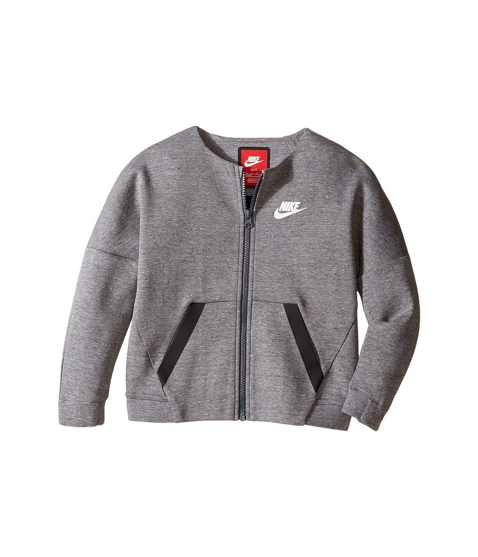 Nike Kids - Tech Fleece Full Zip (Little Kids) (Carbon Heather) Girl's Clothing