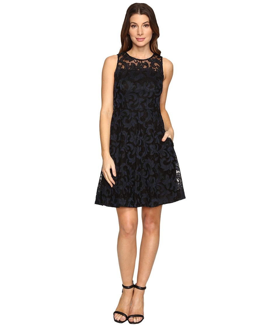 Donna Morgan - Sleeveless Fit and Flare with Full Skirt (Black/Marine) Women's Dress