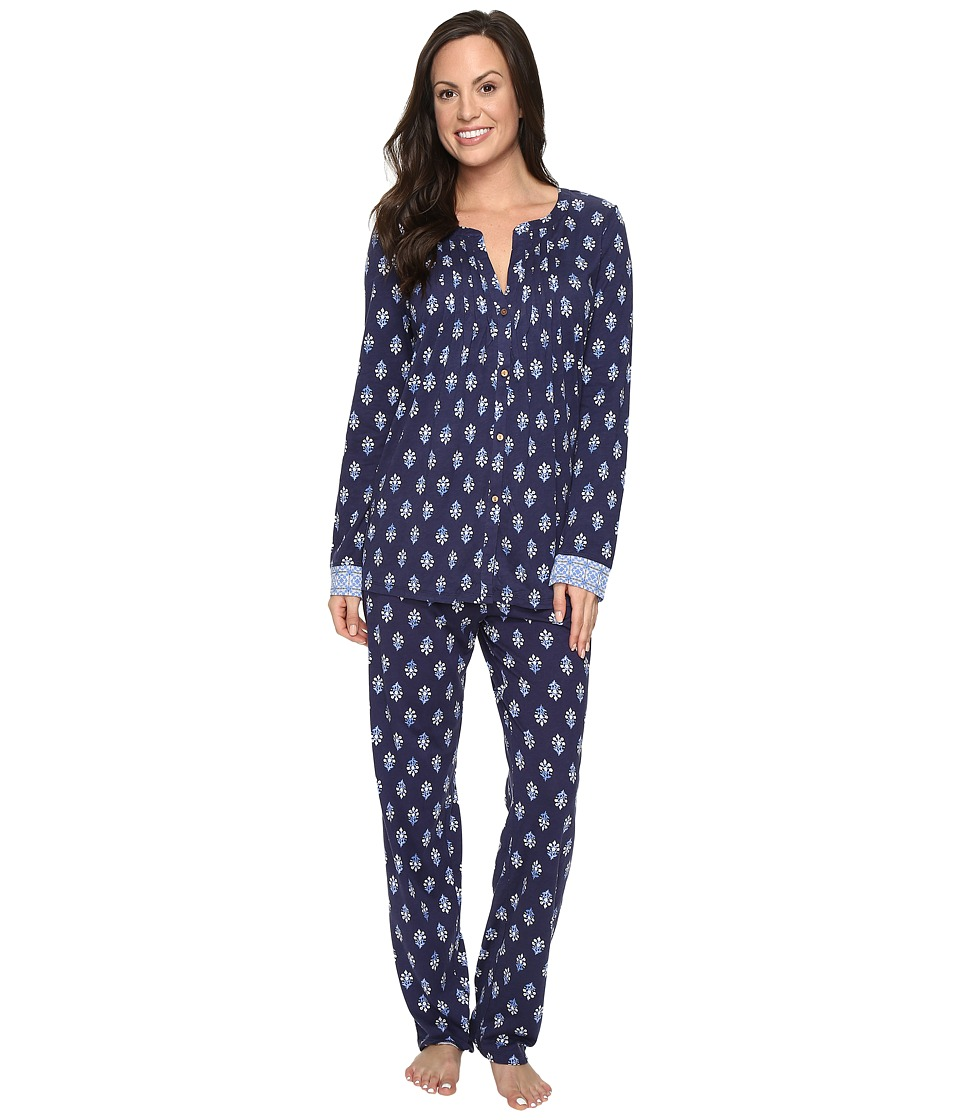 Lucky Brand - Tucked PJ Set (Navy Floral) Women's Pajama Sets
