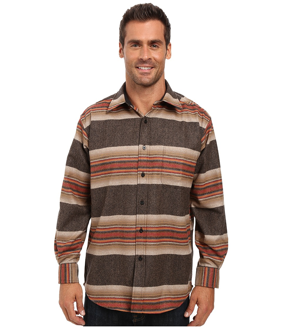 Pendleton - Lodge Shirt (Brown Stripe) Men's Long Sleeve Button Up