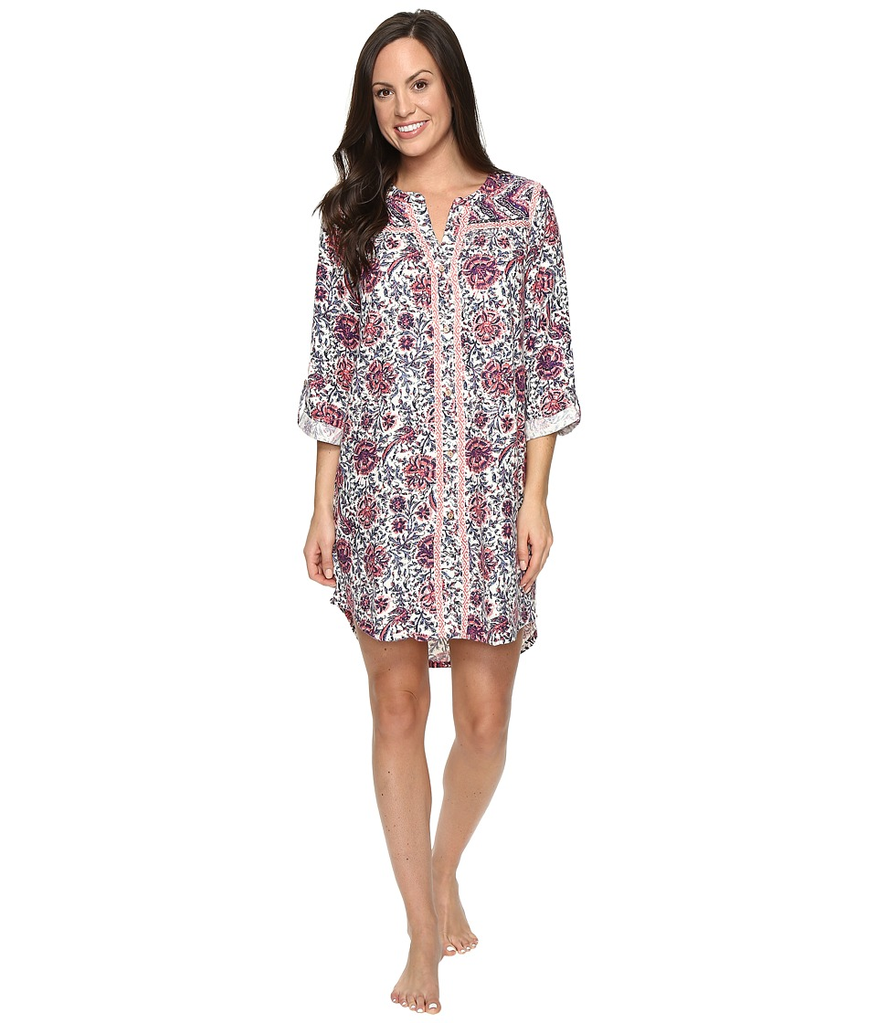 Lucky Brand - Taped Flannel Sleepshirt (Winter Rose Vines Border) Women's Pajama