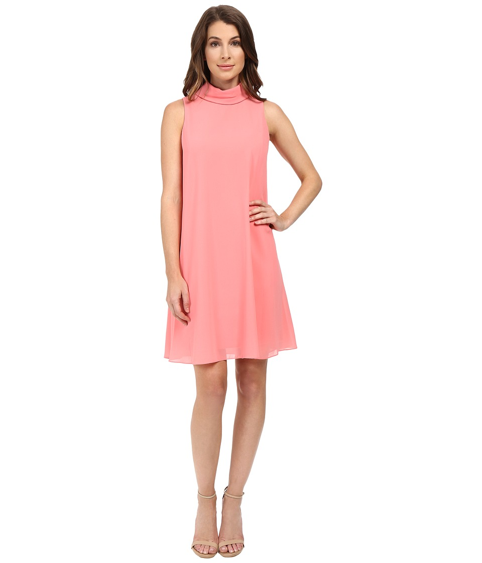Vince Camuto - Sleeveless Mock Neck Flyaway w/ Fitted Under Dress (Guava) Women's Dress