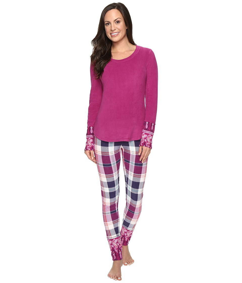 Lucky Brand - Packaged Microfleece Pajama Set (Aster Plaid) Women's Pajama Sets