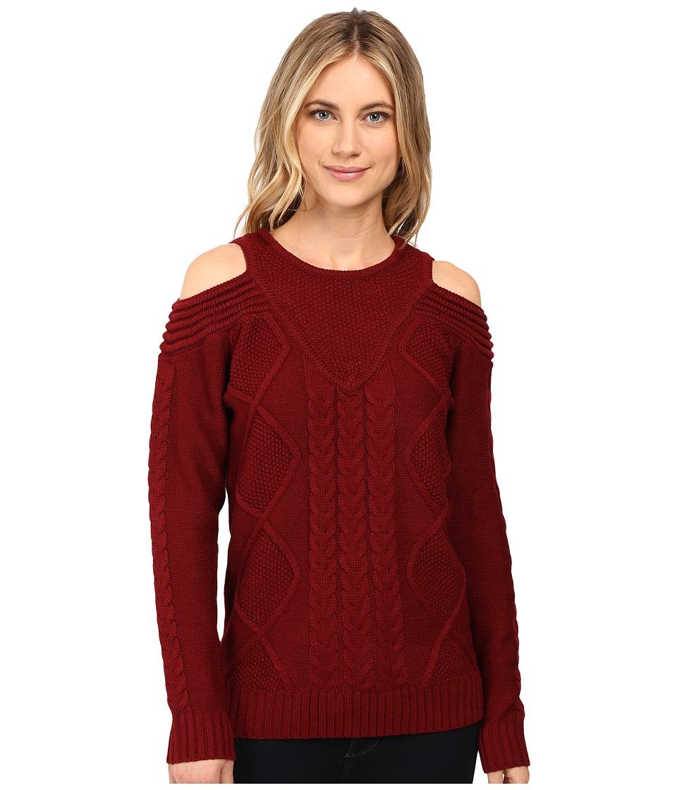Brigitte Bailey - French Cut Cable Knit Sweater (Wine) Women's Sweater