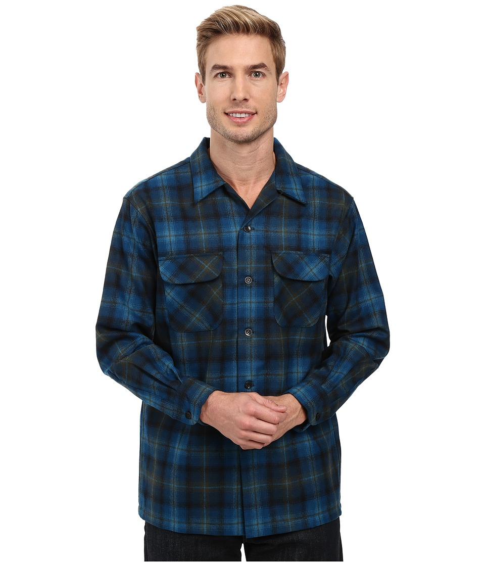 Pendleton - L/S Board Shirt (Turquoise/Green Plaid) Men's Long Sleeve Button Up