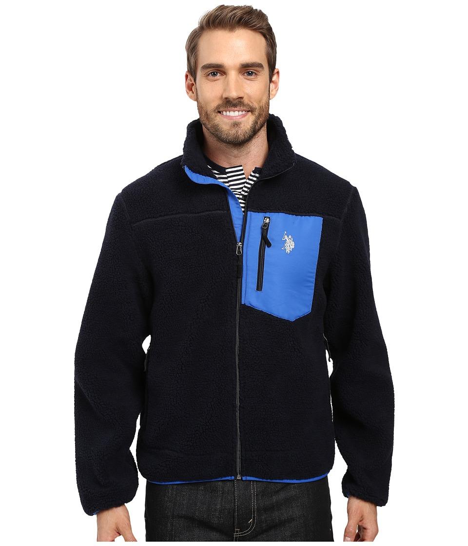 U.S. POLO ASSN. - Full Zip Sherpa Jacket (Classic Navy) Men's Coat