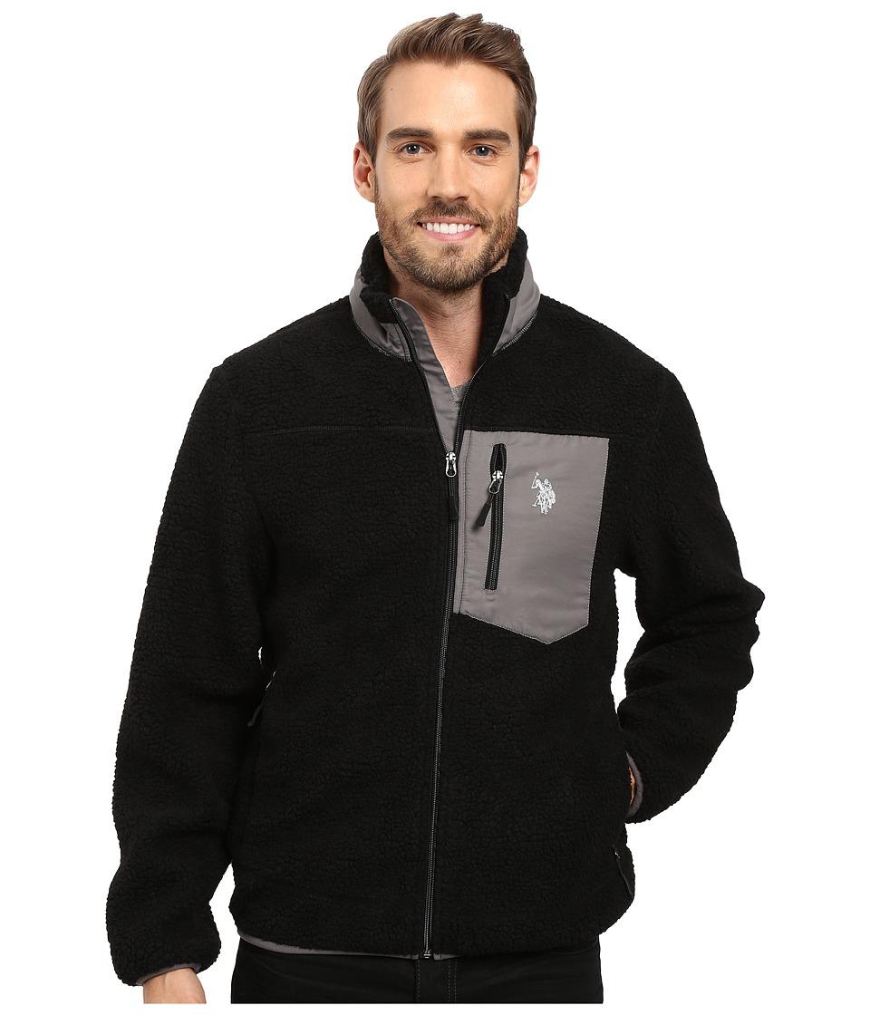 U.S. POLO ASSN. - Full Zip Sherpa Jacket (Black) Men's Coat