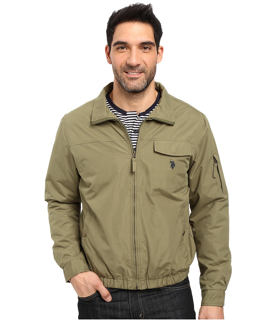 U.S. POLO ASSN. Zip-Up Fleece Jacket (Army Green) Men