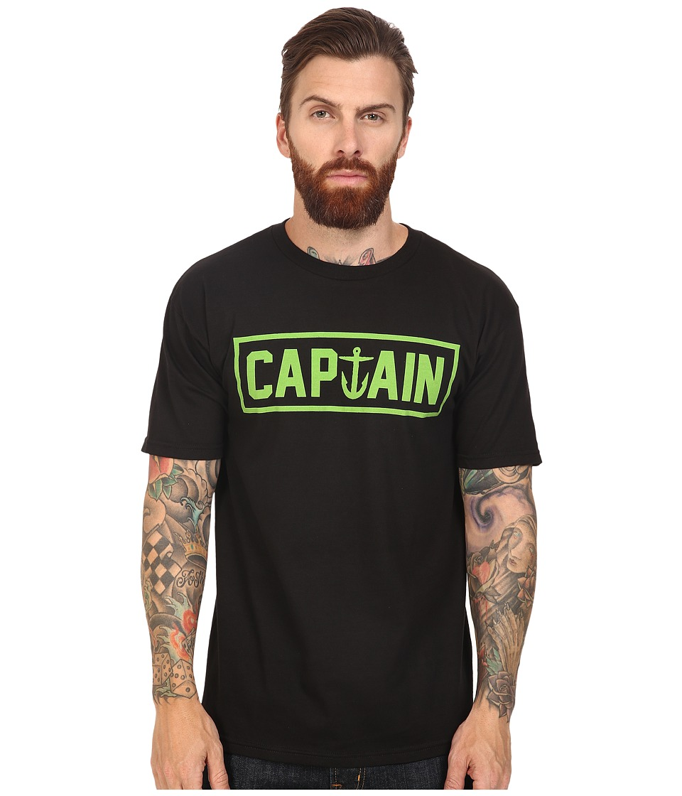 Captain Fin - Naval Captain Standard Tee (Black/Green) Men's T Shirt