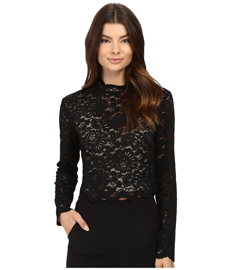 Nicole Miller - Floral Lace Mock Neck Top (Black/Nude) Women's Clothing