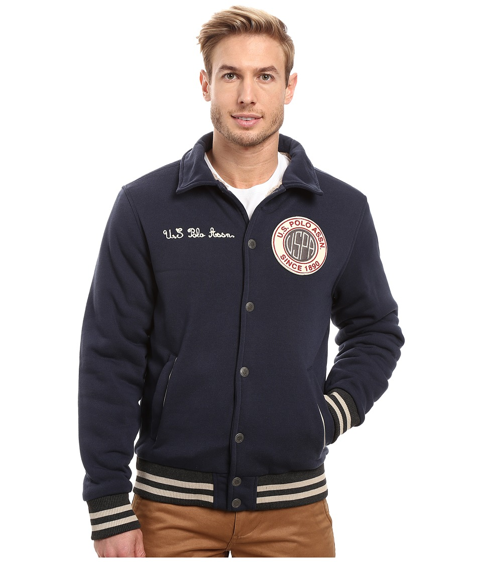 U.S. POLO ASSN. Baseball Fleece Jacket (Classic Navy) Men