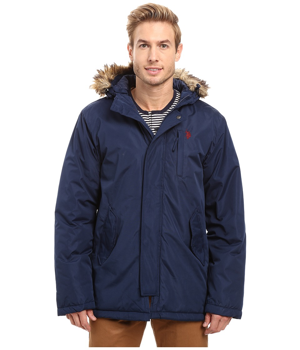 U.S. POLO ASSN. - Faux Fur Hooded Parka Jacket (Classic Navy) Men's Coat