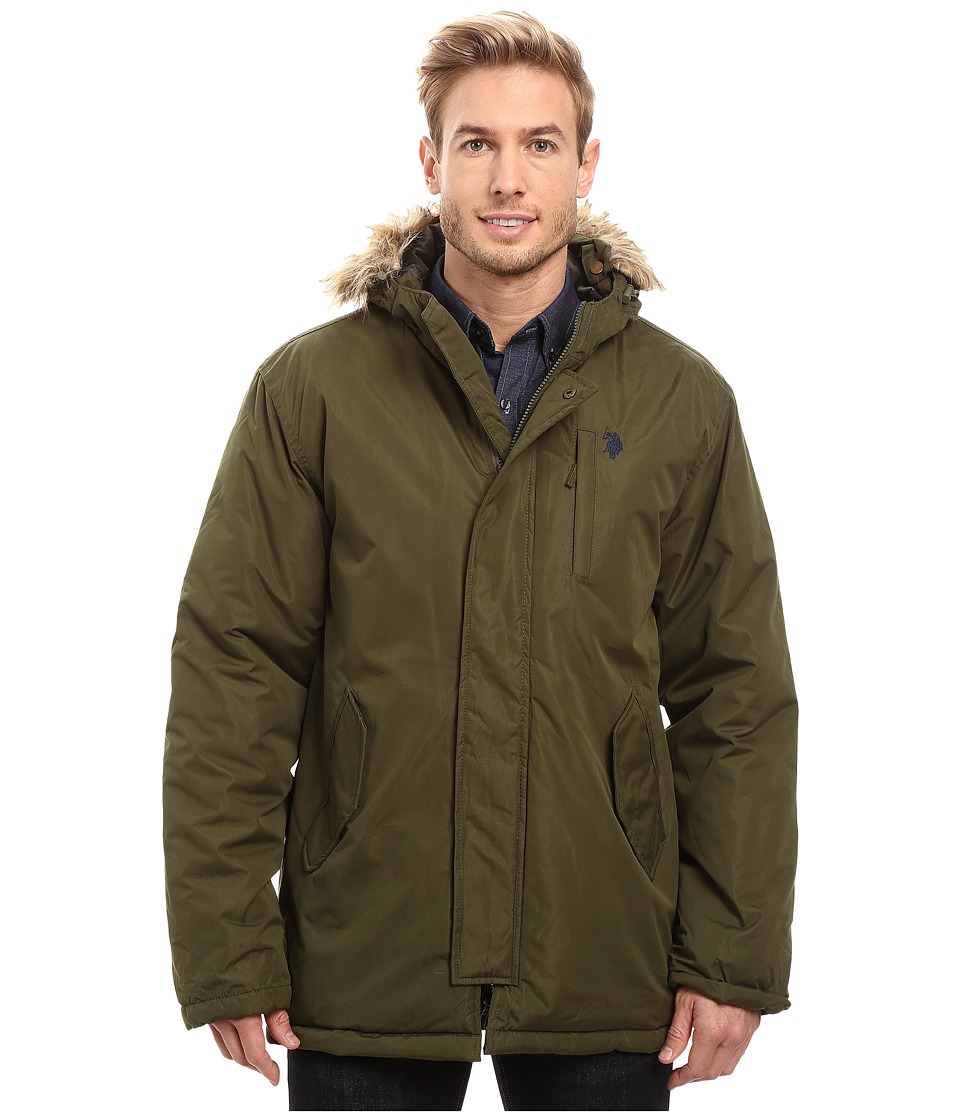 U.S. POLO ASSN. - Faux Fur Hooded Parka Jacket (Army Green) Men's Coat