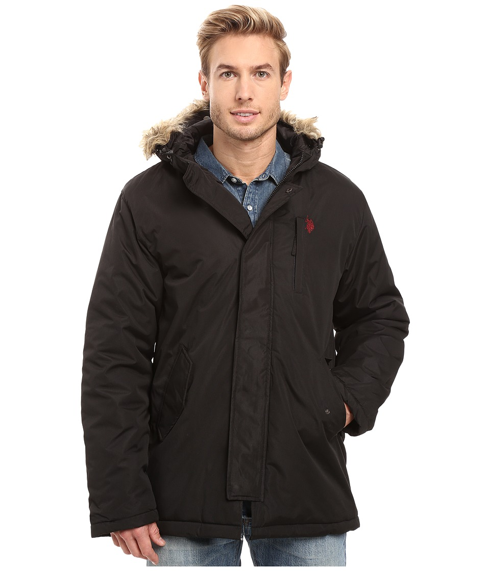 U.S. POLO ASSN. - Faux Fur Hooded Parka Jacket (Black) Men's Coat
