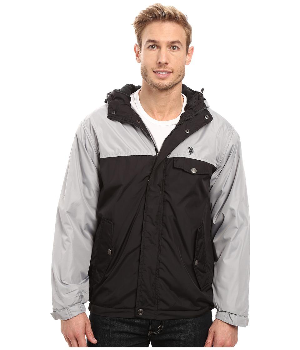U.S. POLO ASSN. - Color Block Fixed Hood Windbreaker Jacket (Limestone) Men's Coat