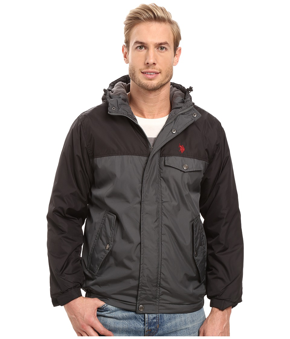 U.S. POLO ASSN. - Color Block Fixed Hood Windbreaker Jacket (Dark Shadow) Men's Coat