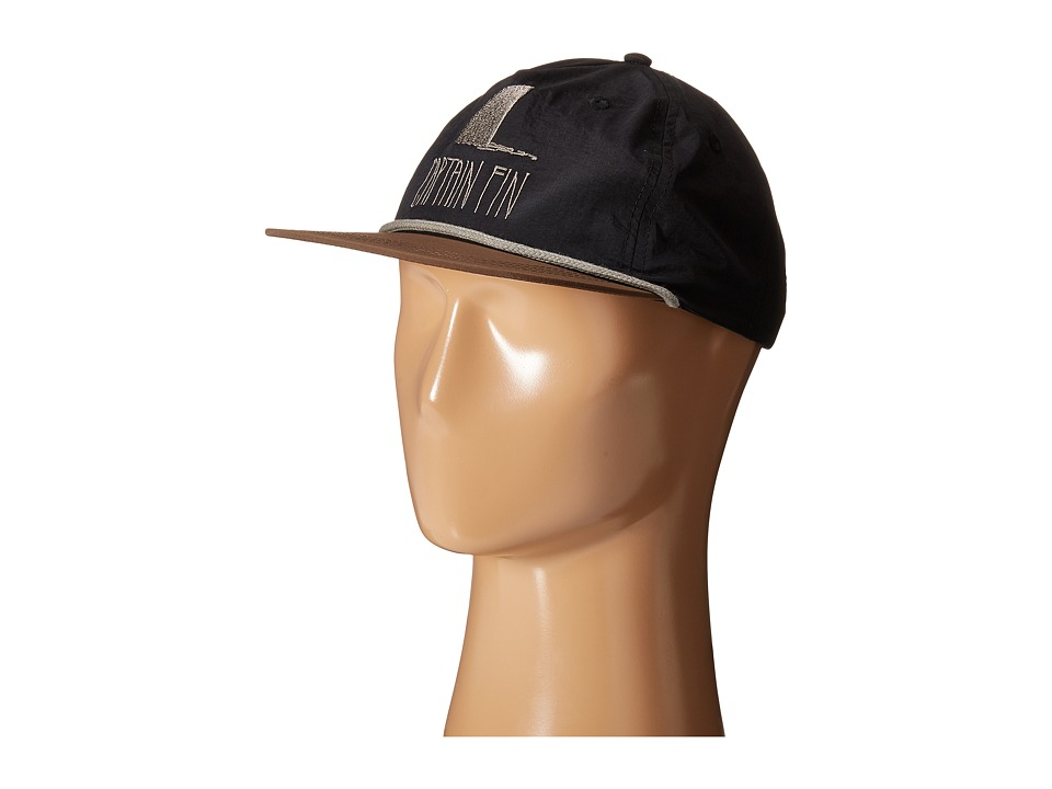 Captain Fin - Shark Fin 5 Panel Hat (Black/Brown) Caps