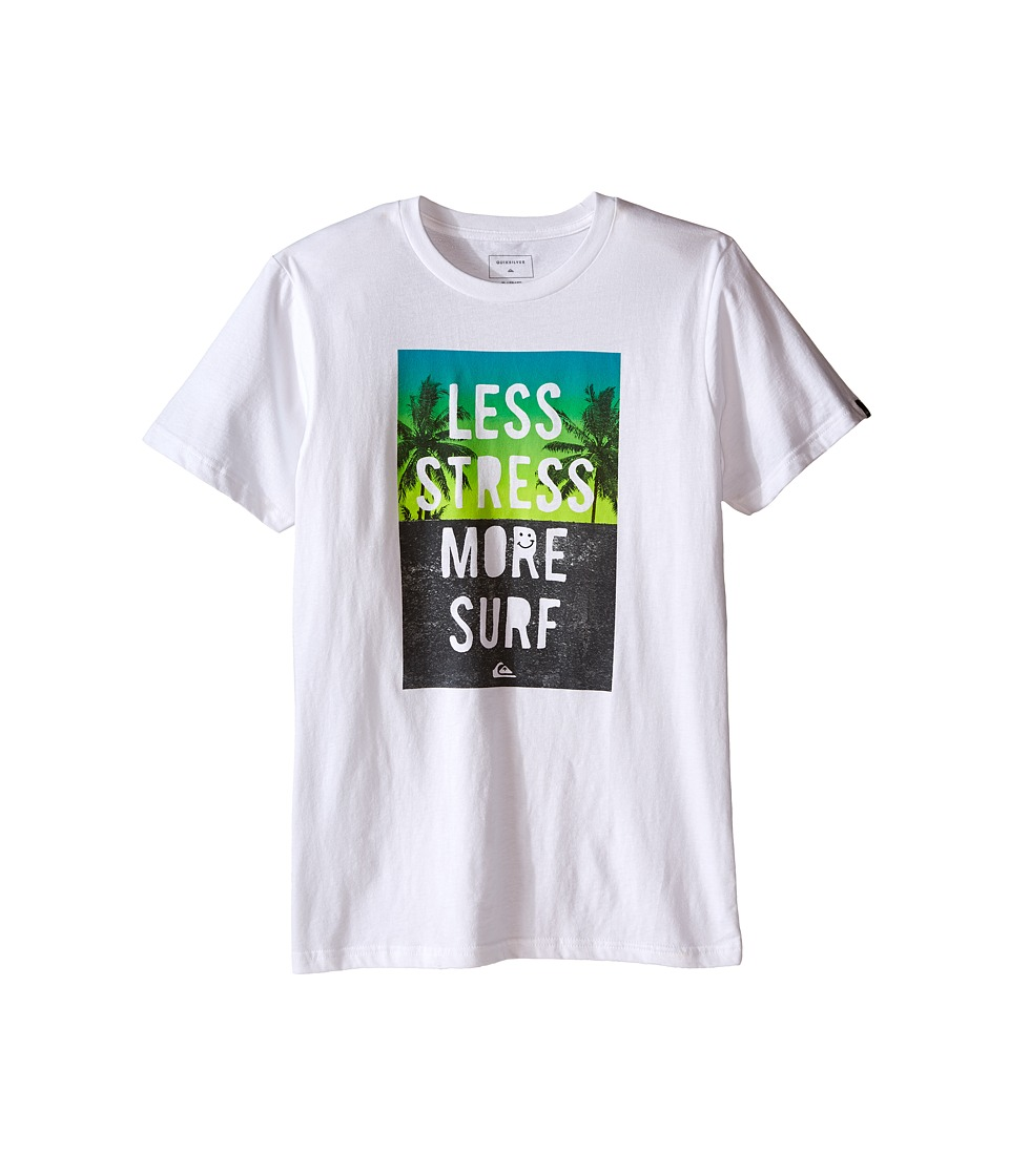 Quiksilver Kids - Less Stress Screen Print (Big Kids) (White) Boy's T Shirt