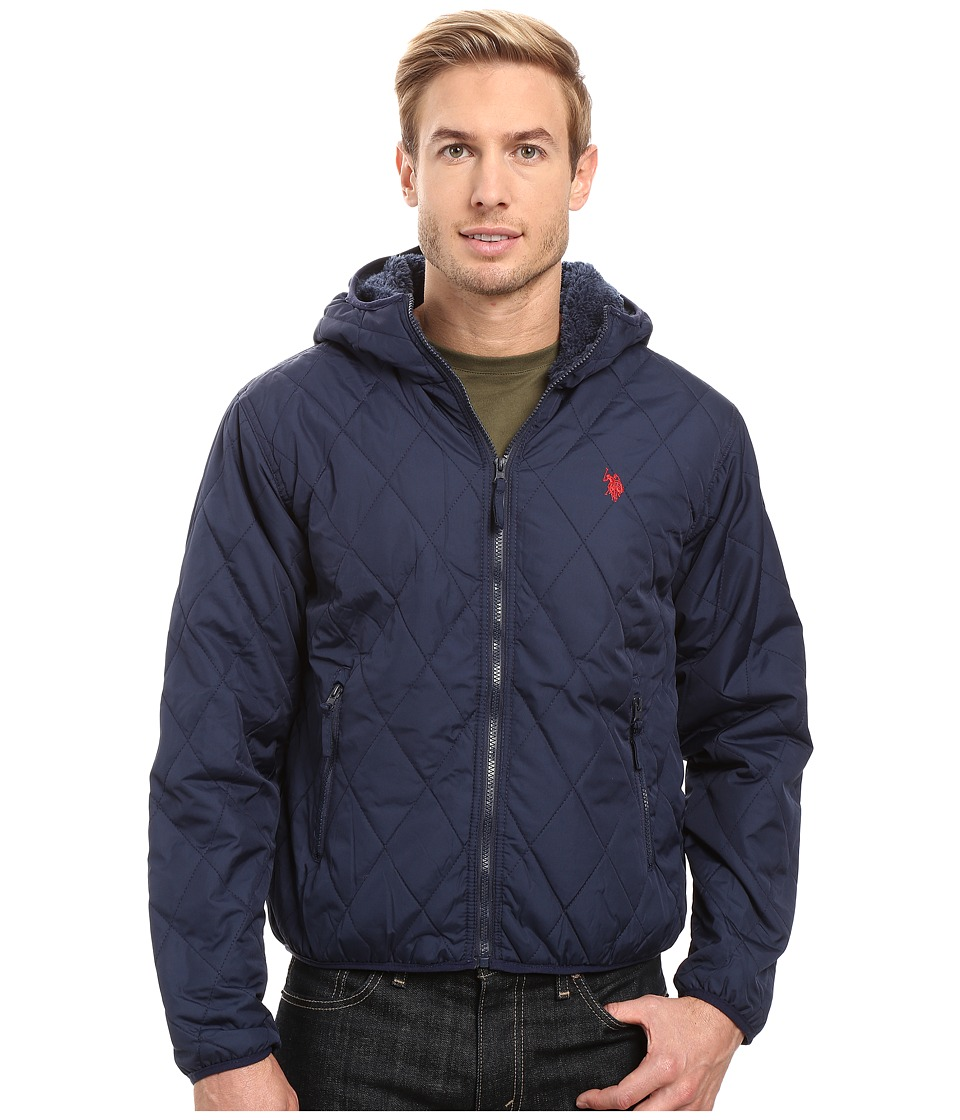 U.S. POLO ASSN. - Diamond Quilted Hooded Jacket (Classic Navy) Men's Coat