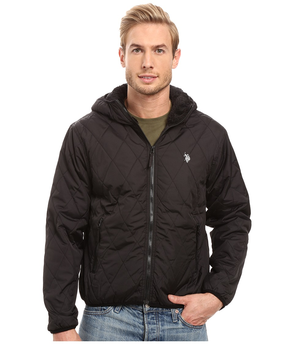 U.S. POLO ASSN. - Diamond Quilted Hooded Jacket (Black) Men's Coat