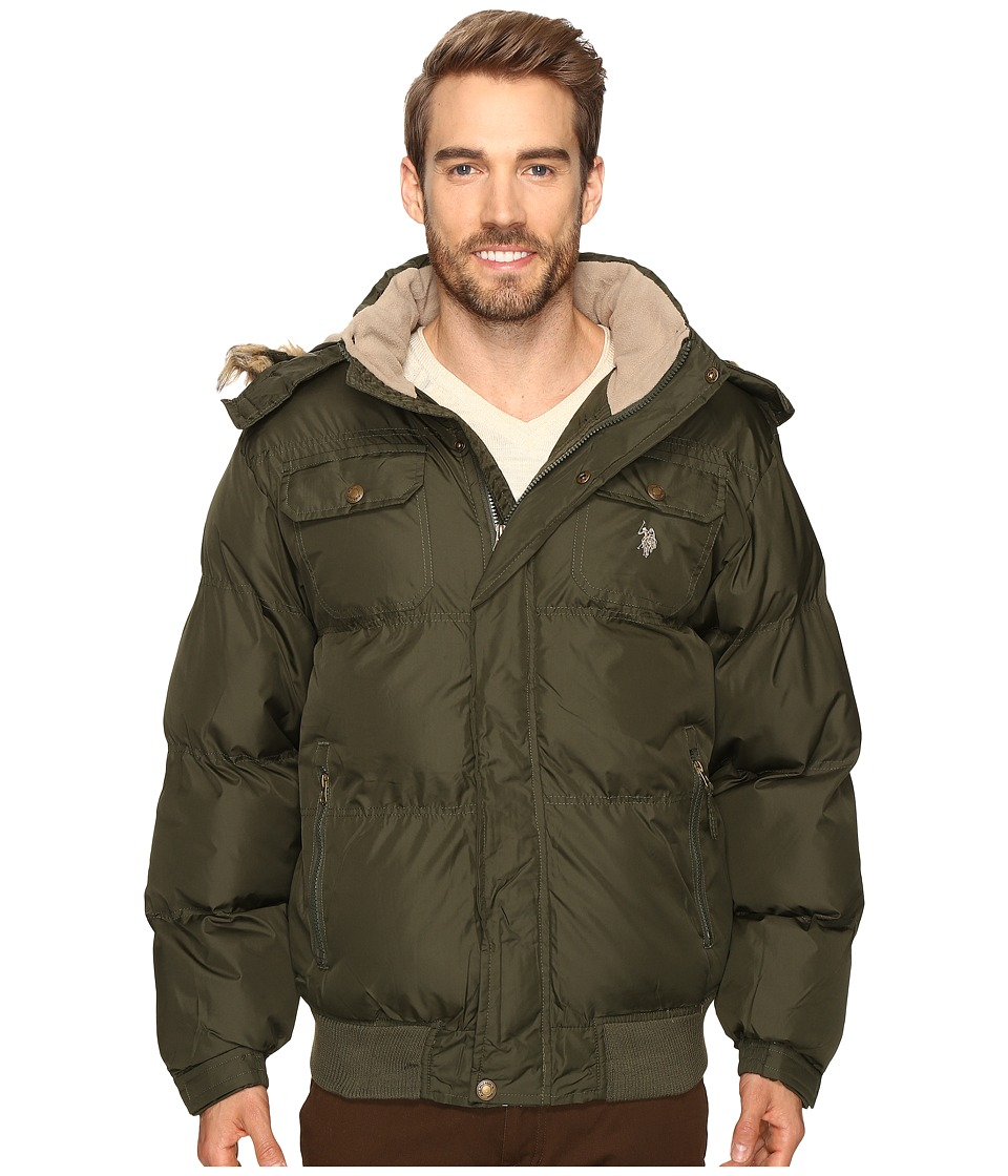 U.S. POLO ASSN. - Short Snorkel Jacket with Faux Fur Hood (Forest Night) Men's Coat