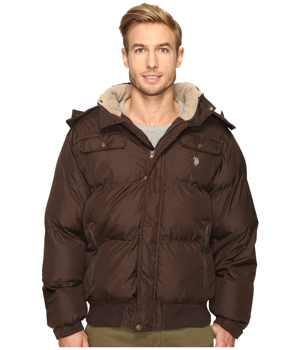U.S. POLO ASSN. - Short Snorkel Jacket with Faux Fur Hood (Dark Brown) Men's Coat