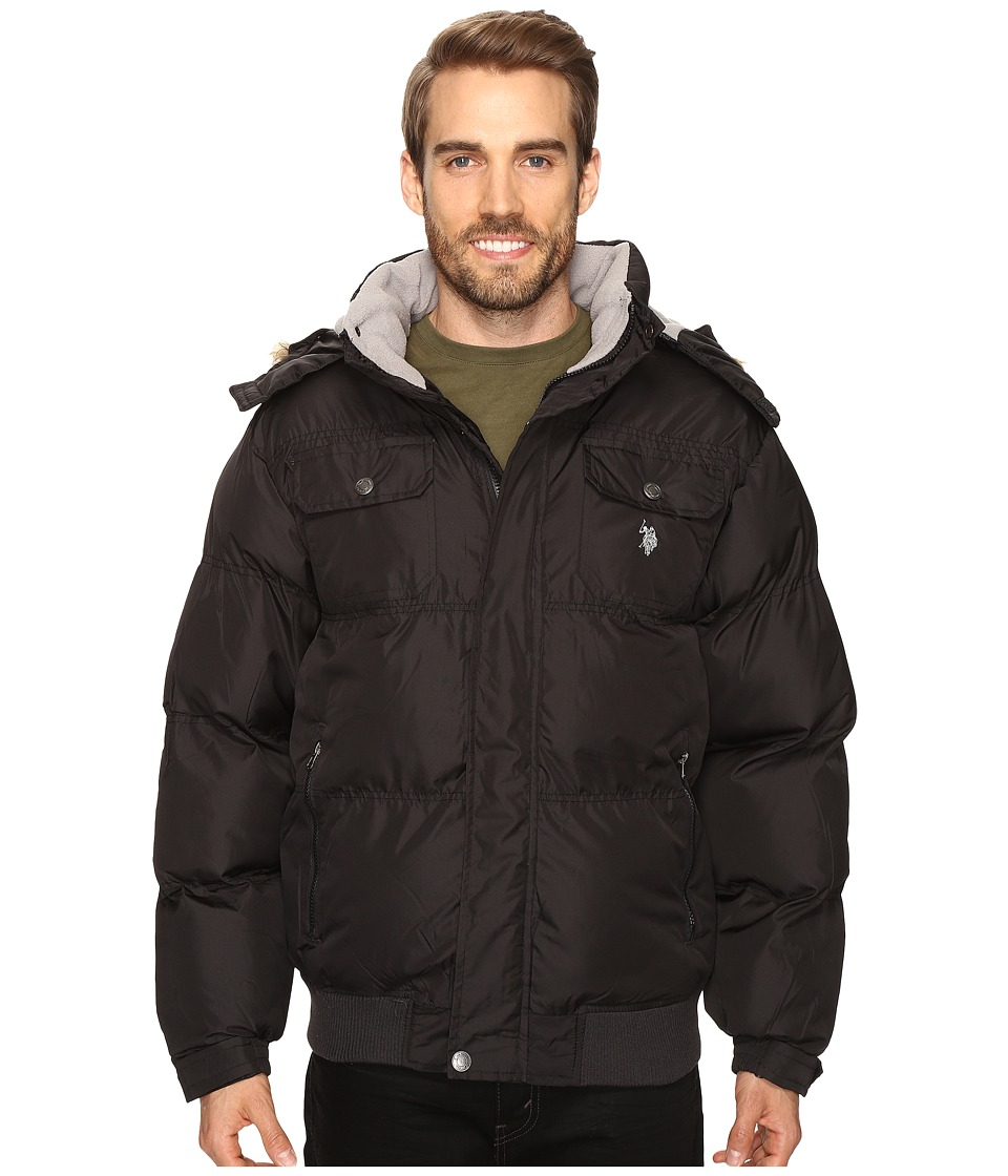 U.S. POLO ASSN. - Short Snorkel Jacket with Faux Fur Hood (Black) Men's Coat
