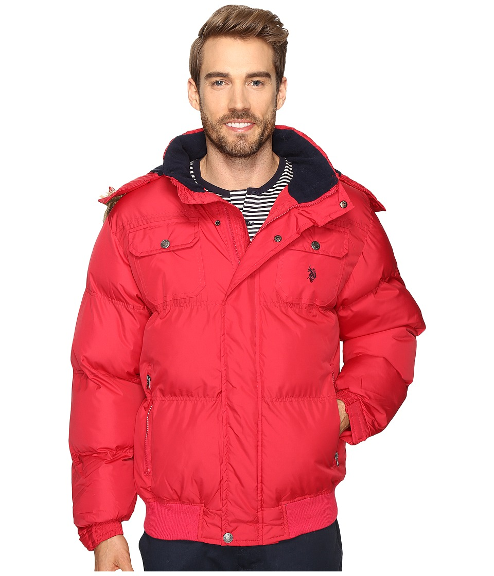 U.S. POLO ASSN. - Short Snorkel Jacket with Faux Fur Hood (Chili Pepper) Men's Coat