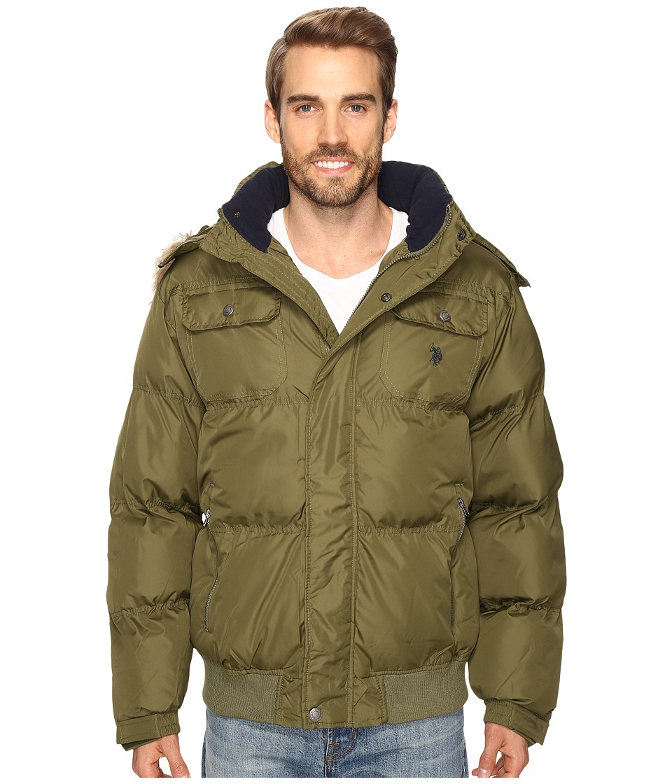 U.S. POLO ASSN. - Short Snorkel Jacket with Faux Fur Hood (Army Green) Men's Coat