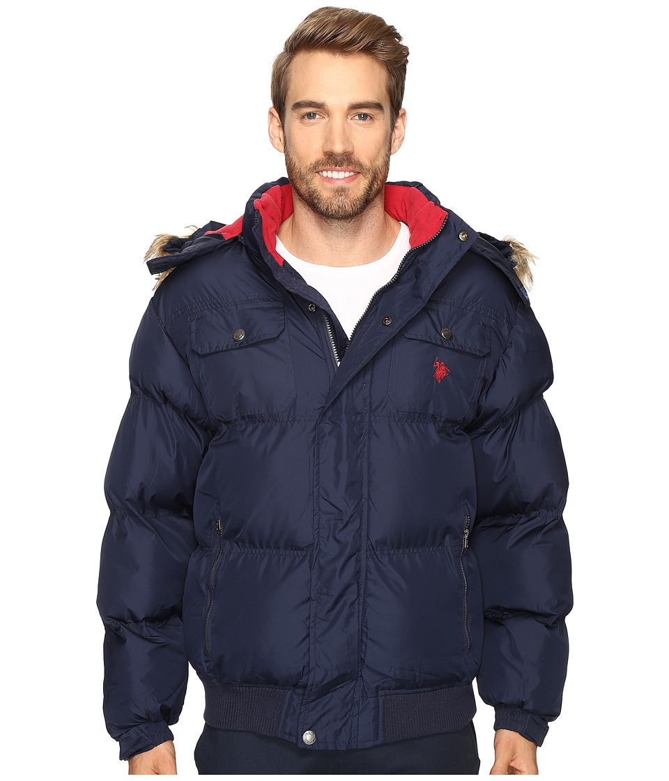 U.S. POLO ASSN. - Short Snorkel Jacket with Faux Fur Hood (Classic Navy) Men's Coat