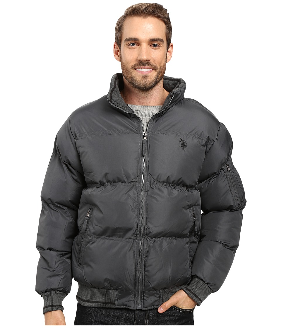 U.S. POLO ASSN. - Puffer Jacket with Striped Rib Knit Collar (Dark Shadow) Men's Coat