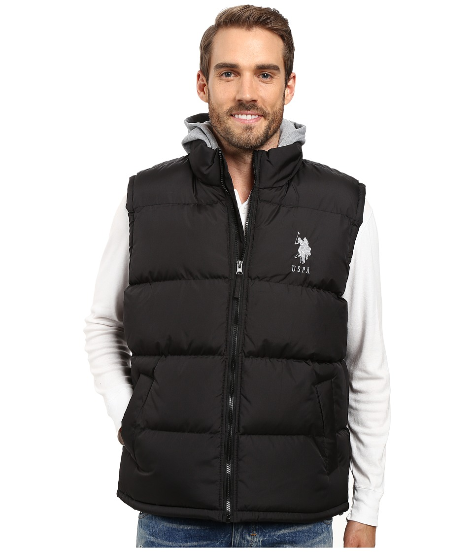 U.S. POLO ASSN. - Basic Puffer Vest with Fleece Hood (Black) Men's Vest