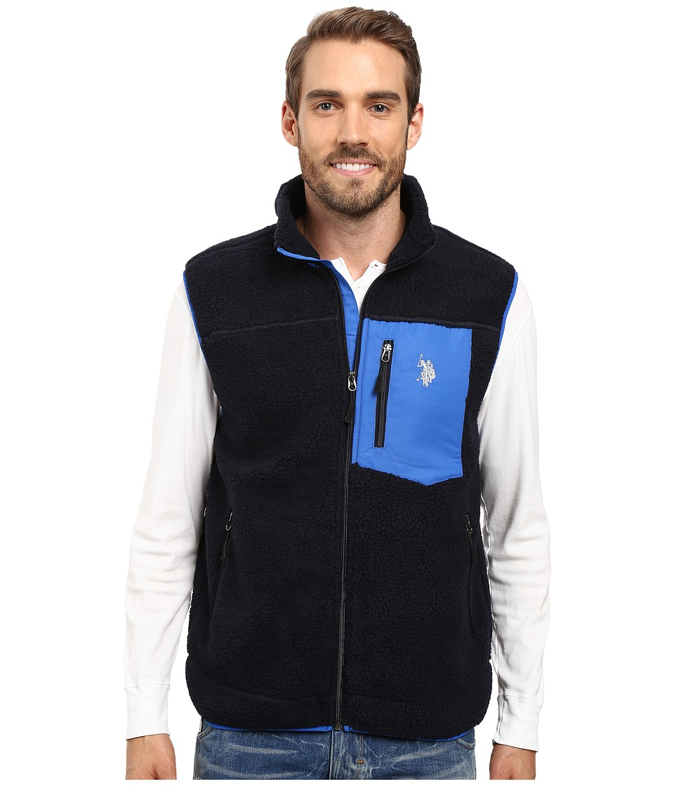 U.S. POLO ASSN. - Full Zip Sherpa Vest (Classic Navy) Men's Vest