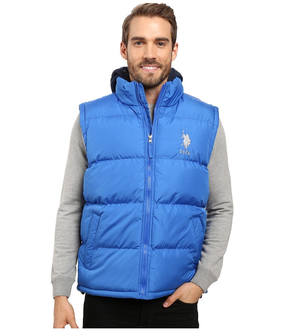 U.S. POLO ASSN. - Basic Puffer Vest with Fleece Hood (China Blue) Men's Vest