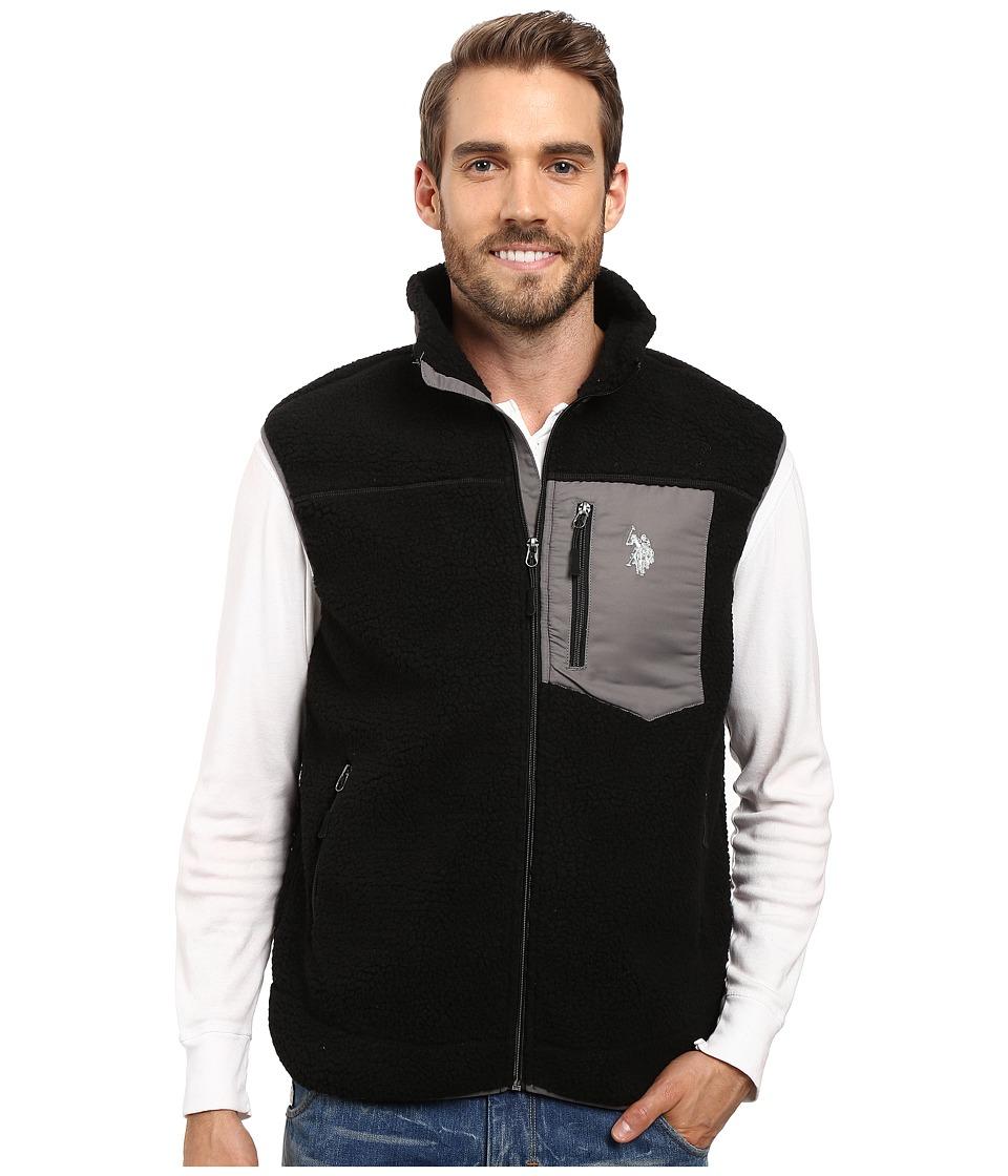 U.S. POLO ASSN. - Full Zip Sherpa Vest (Black) Men's Vest