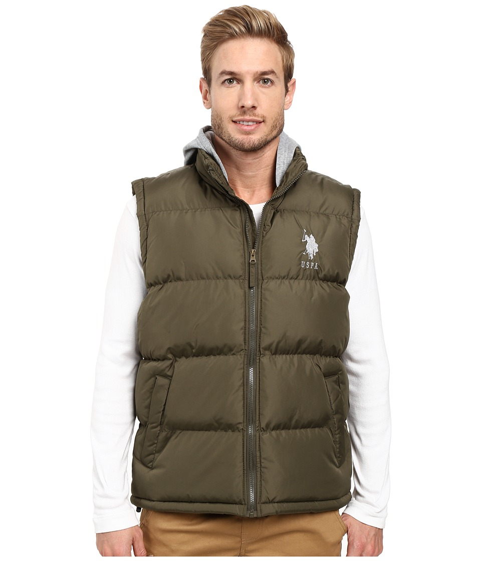 U.S. POLO ASSN. - Basic Puffer Vest with Fleece Hood (Forest Night) Men's Vest