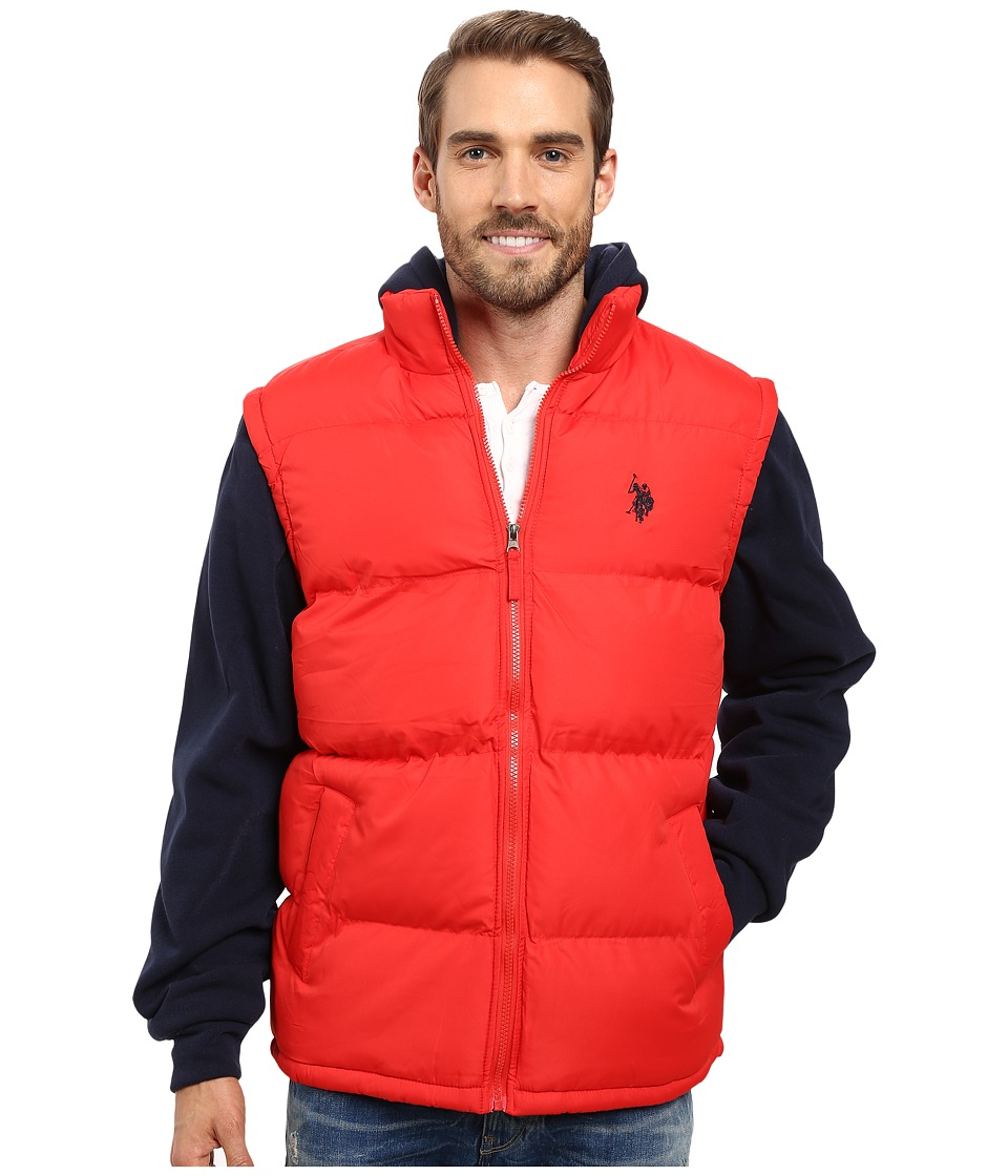 U.S. POLO ASSN. - Basic Vest with Fleece Hood and Sleeves (Engine Red) Men's Vest